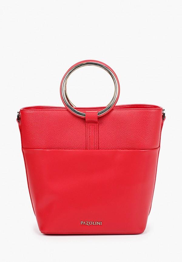 женская сумка с ручками pazolini, красная