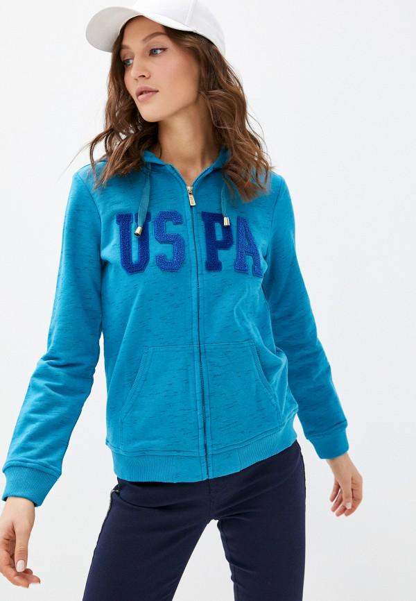 женская толстовка u.s. polo assn, голубая