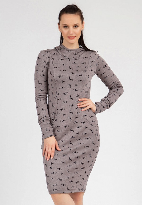 женское платье-толстовки grey cat, фиолетовое