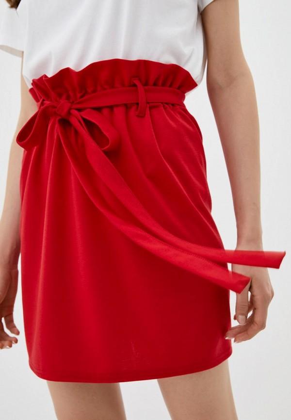 женская прямые юбка подіум, красная