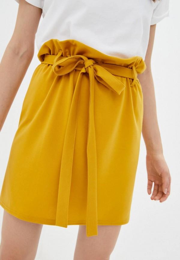 женская прямые юбка подіум, желтая