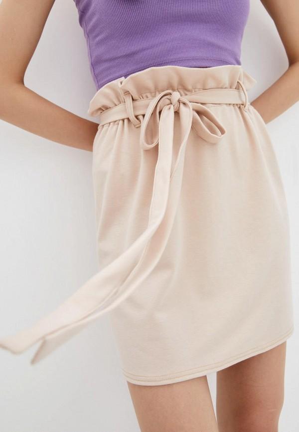 женская прямые юбка подіум, бежевая