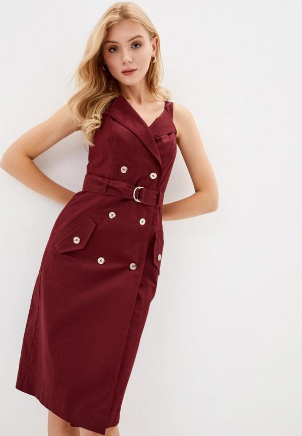 женское повседневные платье ora, бордовое