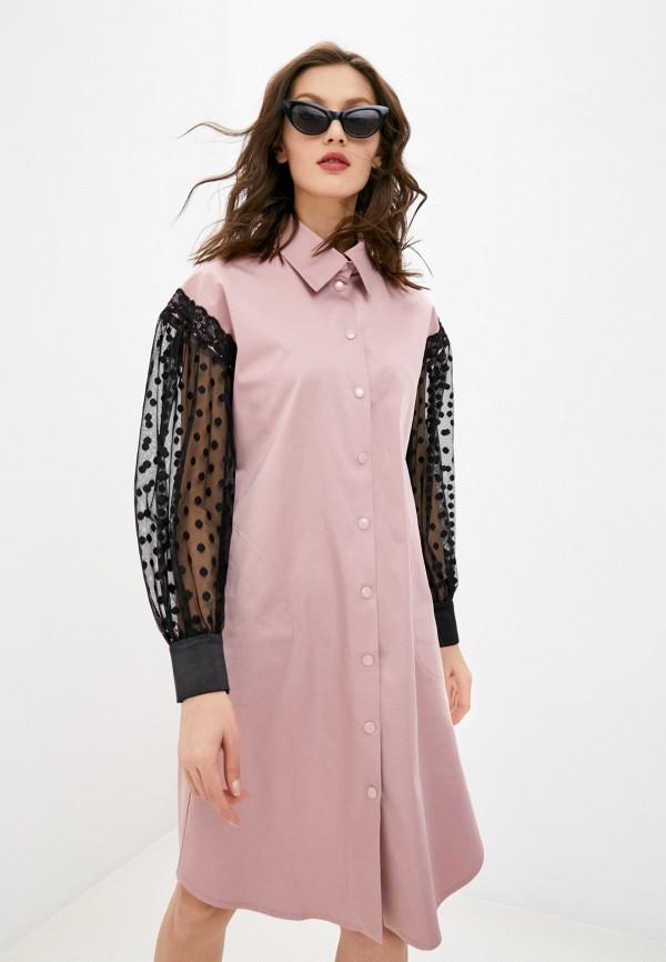 женское платье-рубашки adzhedo, розовое