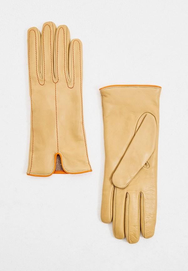 женские кожаные перчатки falconeri, бежевые