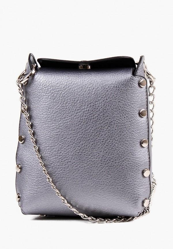 женская сумка через плечо медведково, серебряная