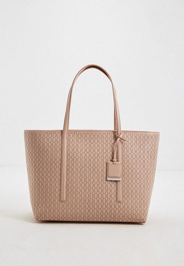 женская сумка-шоперы boss, бежевая