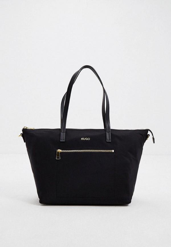 женская сумка-шоперы hugo, черная