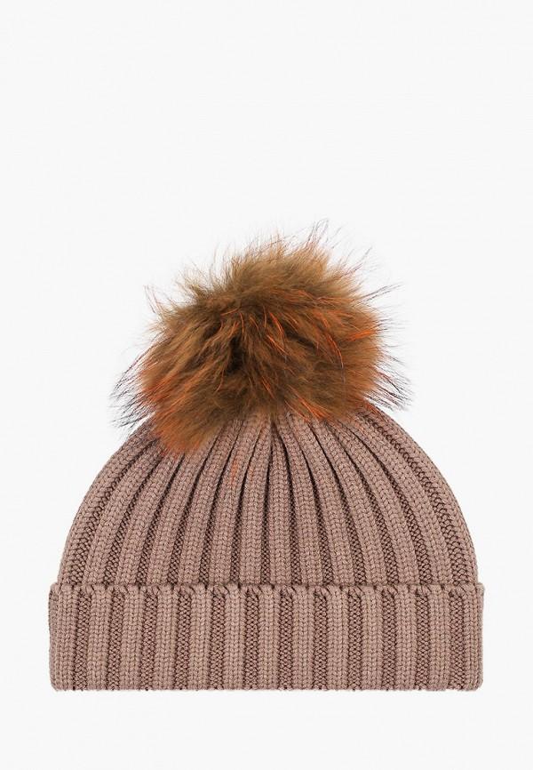 женская шапка vitacci, коричневая