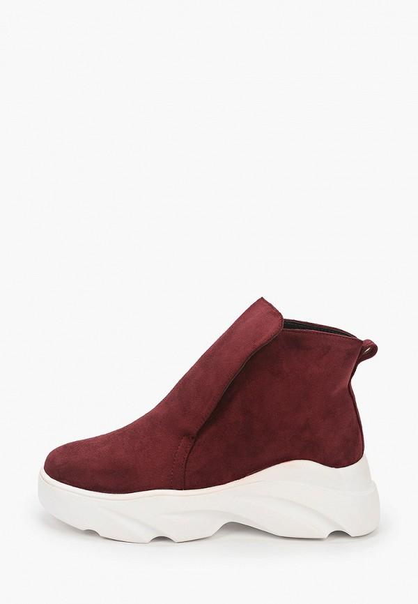 женские высокие ботинки араз, бордовые