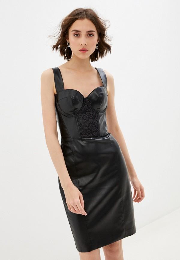 женское кожаные платье ruxara, черное