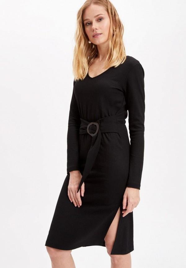 женское повседневные платье defacto, черное