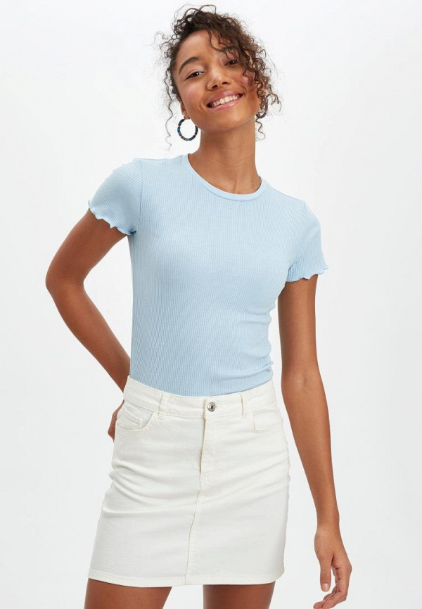 женская футболка defacto, голубая