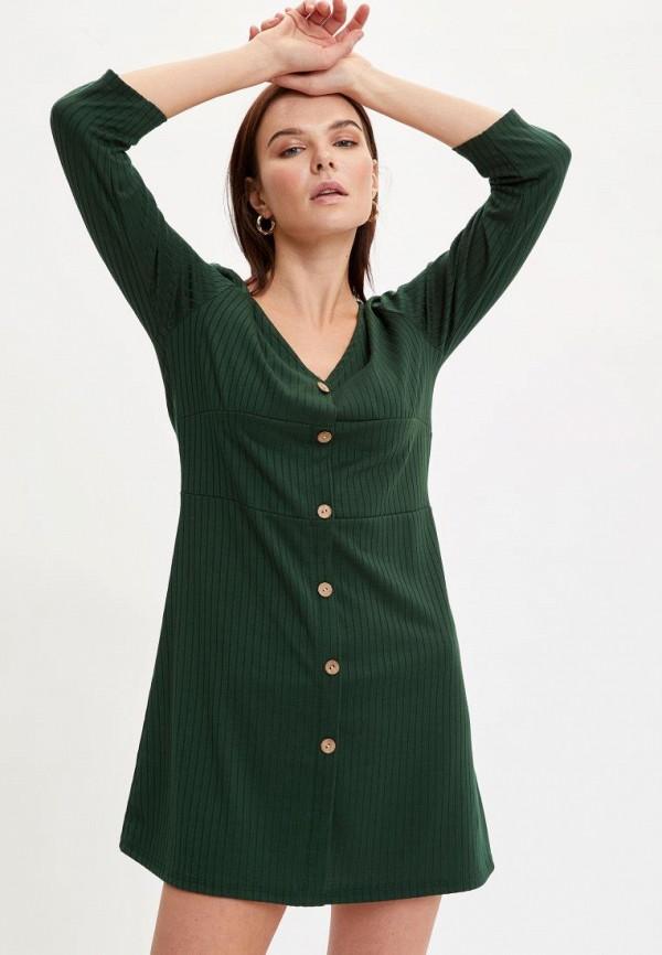 женское повседневные платье defacto, зеленое