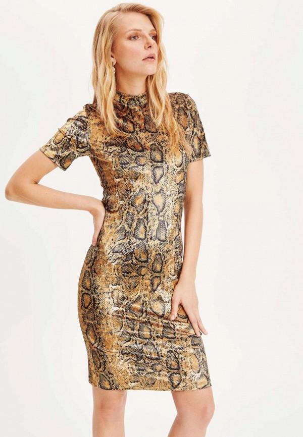 женское платье-футляр defacto, бежевое