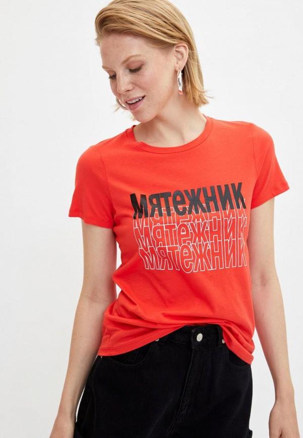 женская футболка defacto, оранжевая