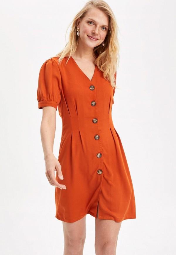 женское повседневные платье defacto, оранжевое