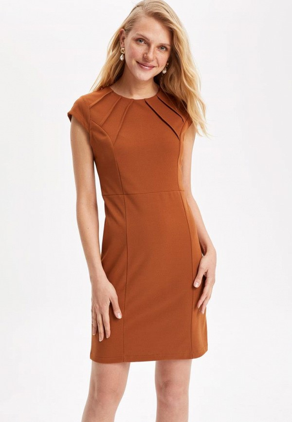 женское платье-футляр defacto, коричневое