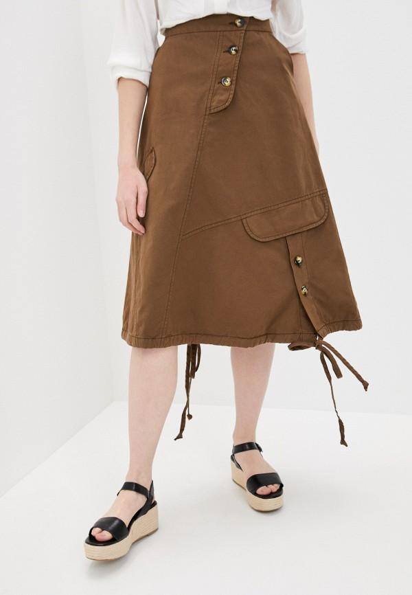 женская юбка-трапеции agenda, коричневая