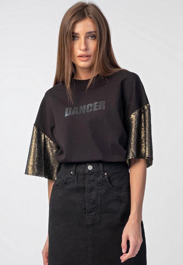 женская футболка fly, черная