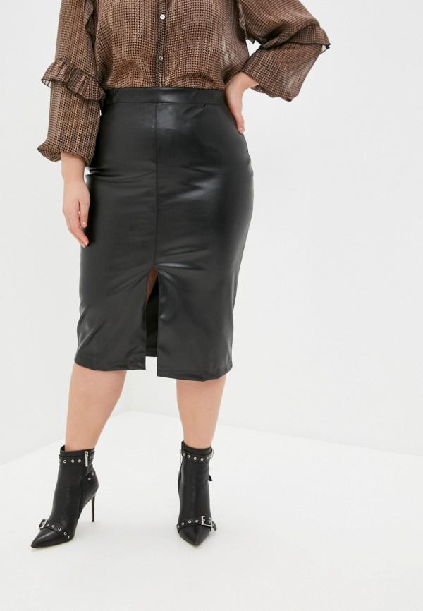 женская кожаные юбка binitra bini, черная