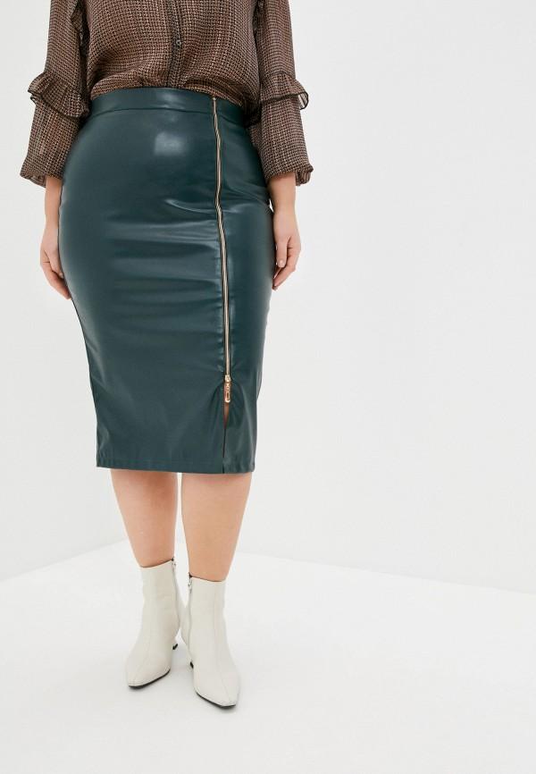 женская кожаные юбка binitra bini, зеленая