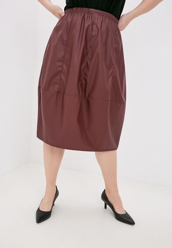 женская кожаные юбка olsi, бордовая