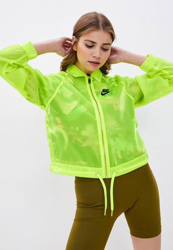 женская ветровка nike, зеленая