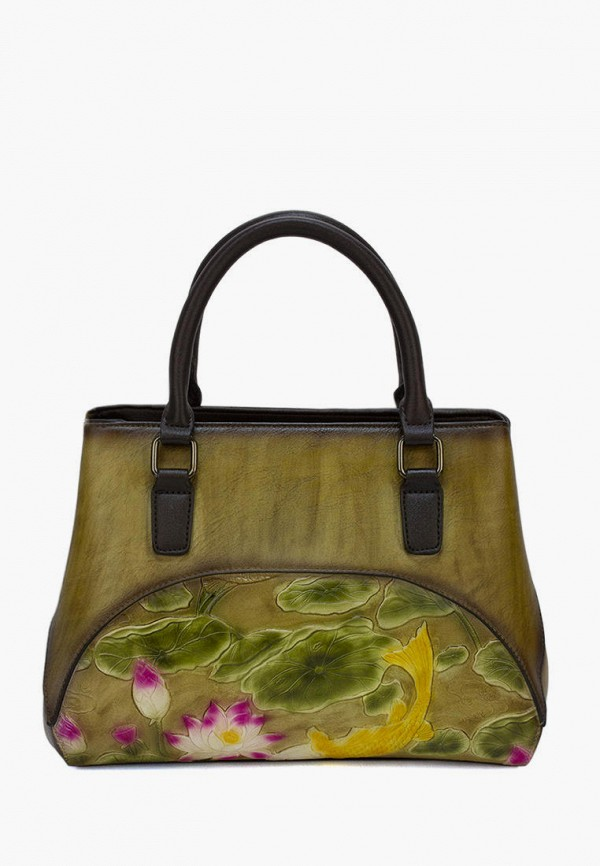 женская сумка с ручками laccoma, хаки