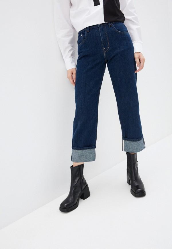 женские прямые джинсы agenda, синие