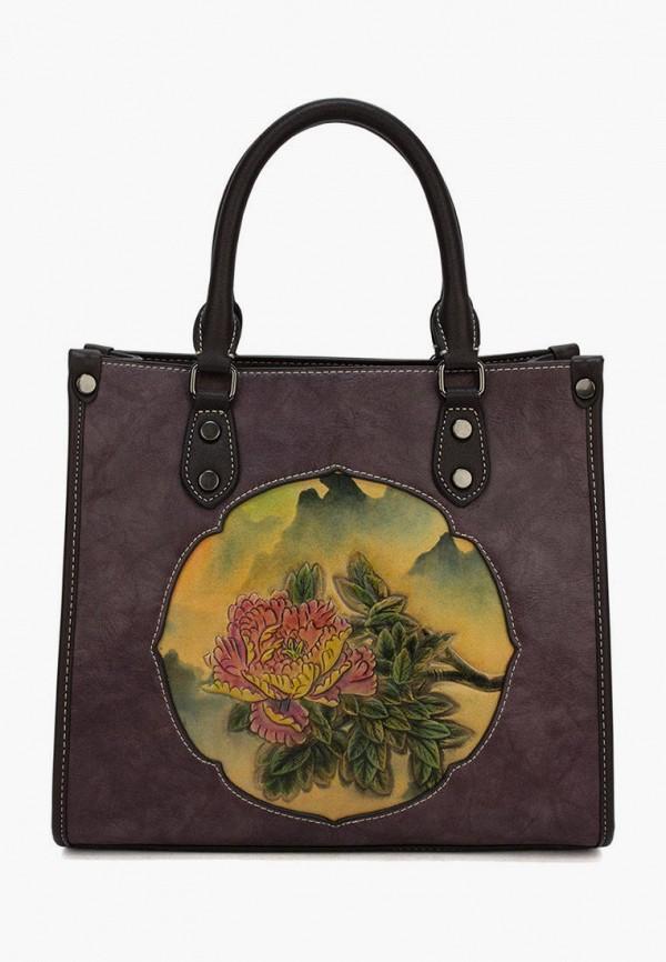 женская сумка с ручками laccoma, коричневая