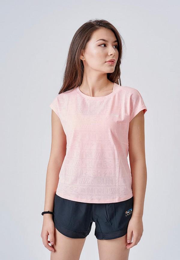 женская спортивные футболка li-ning, розовая