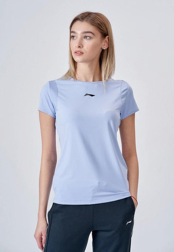 женская спортивные футболка li-ning, голубая