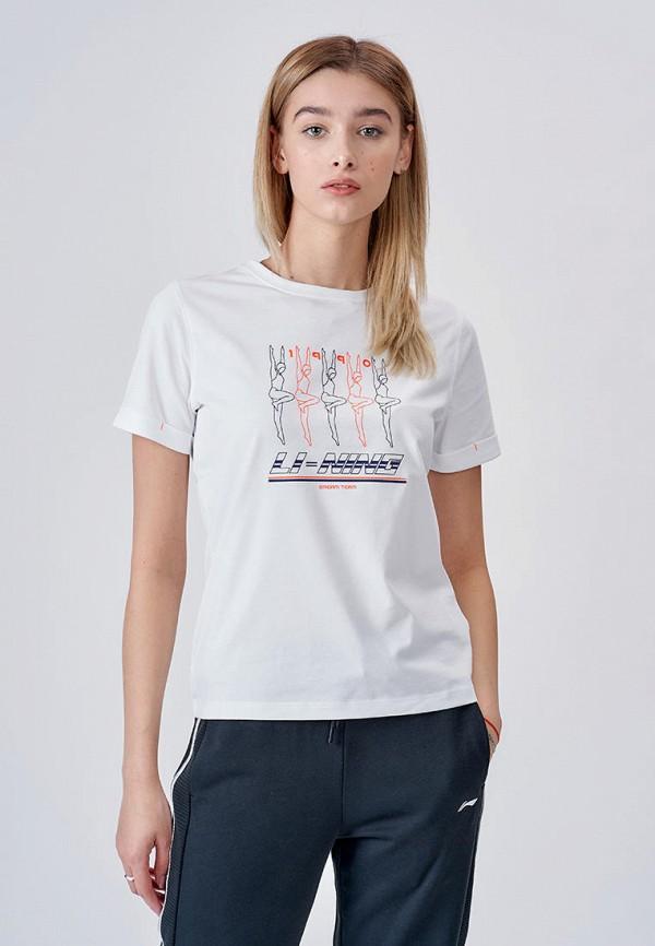 женская спортивные футболка li-ning, белая