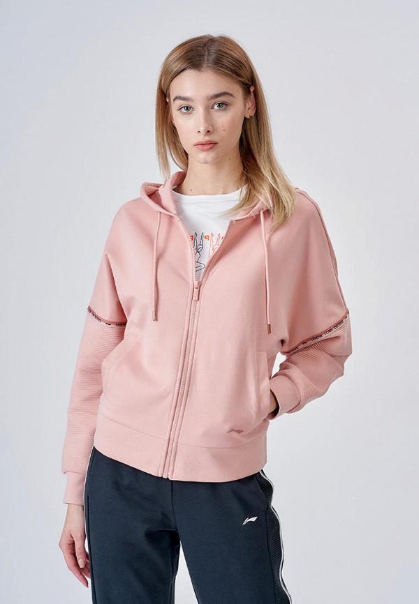 женская толстовка li-ning, розовая