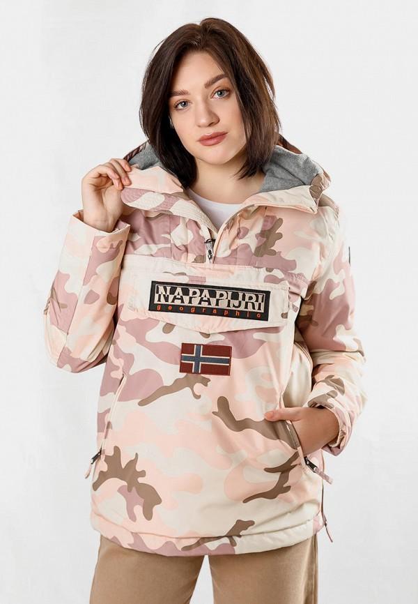 женская куртка napapijri, розовая