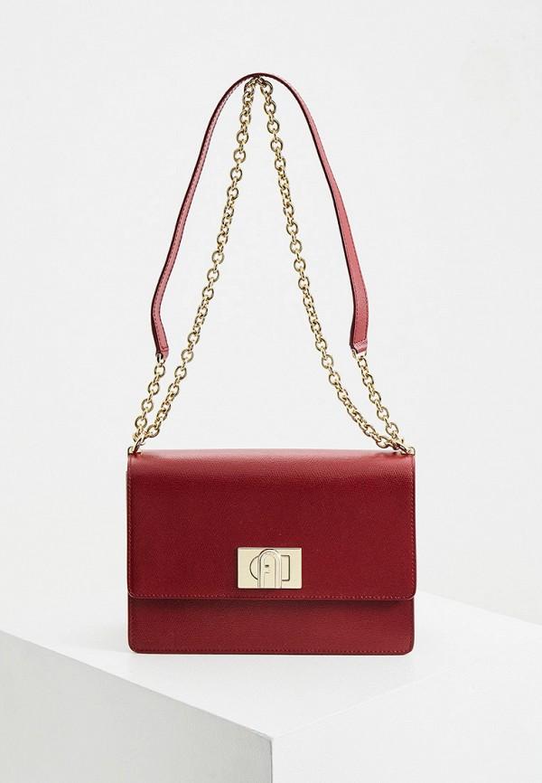 женская сумка через плечо furla, бордовая