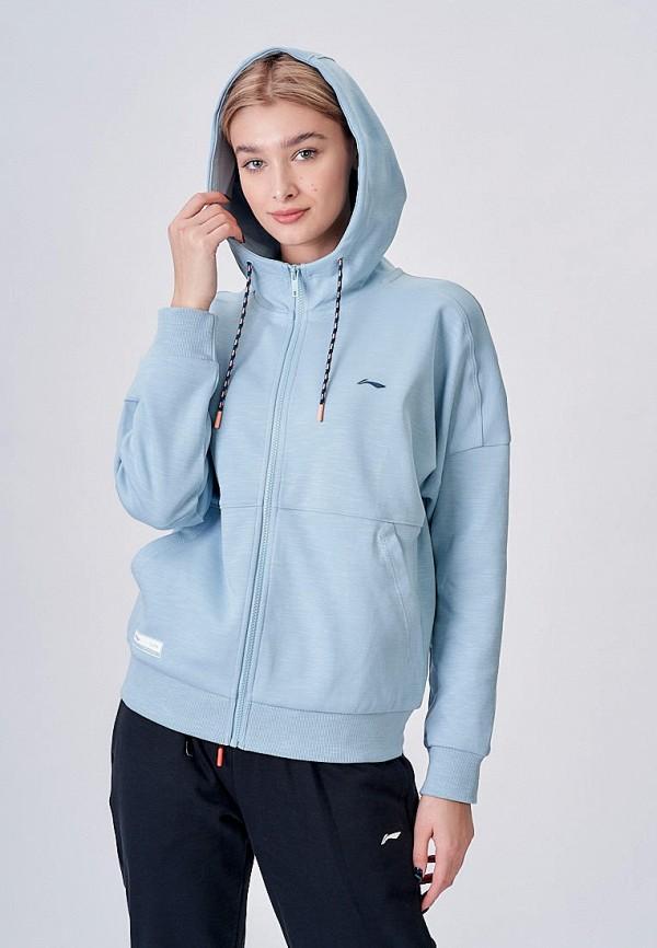 женская толстовка li-ning, голубая