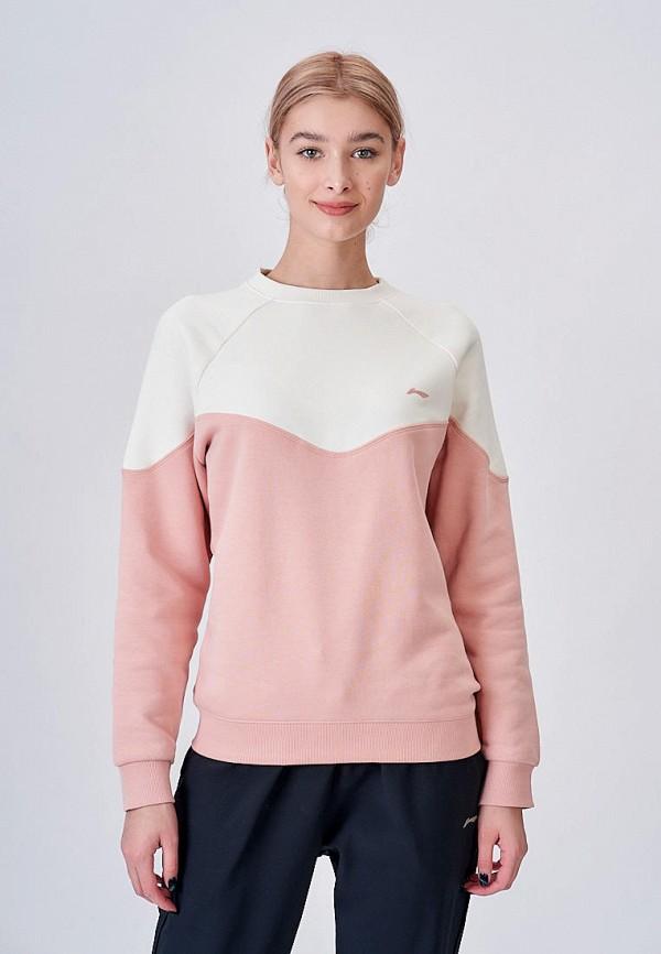 женский свитшот li-ning, розовый