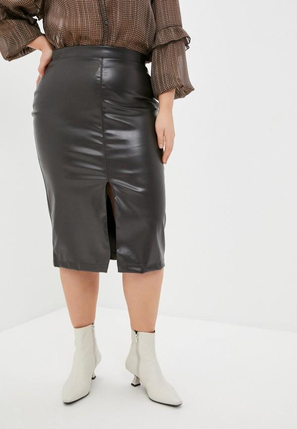 женская кожаные юбка binitra bini, коричневая