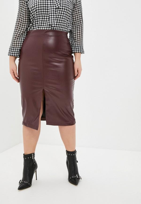 женская кожаные юбка binitra bini, бордовая