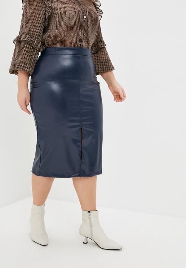 женская кожаные юбка binitra bini, синяя