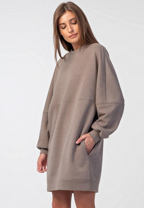 женское платье-толстовки fly, коричневое