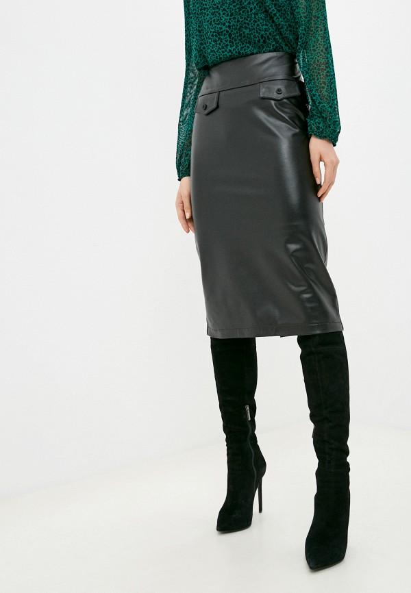 женская кожаные юбка alina assi, черная