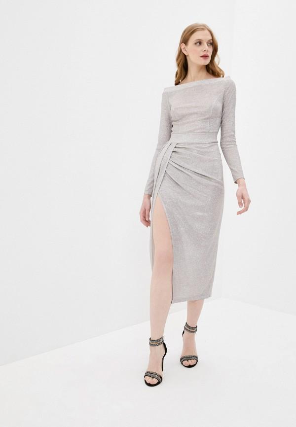 женское вечерние платье mist, серебряное