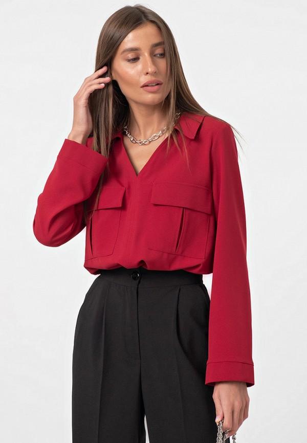 женская блузка с длинным рукавом fly, бордовая