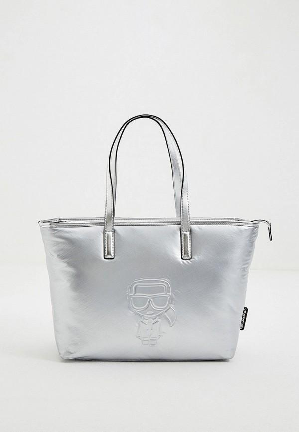 женская сумка с ручками karl lagerfeld, серебряная