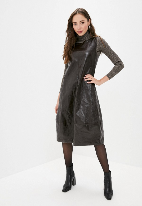 женское кожаные платье helmidge, коричневое