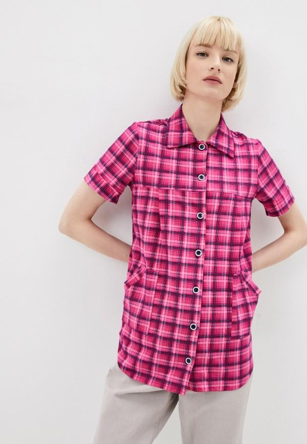 женская рубашка с коротким рукавом zarka, розовая