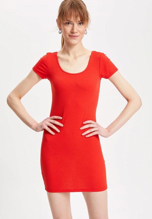 женское платье defacto, красное
